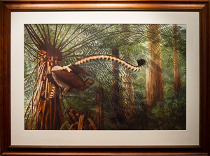 Symphony of the forest  Superb Lyrebird displaying. Oil Painting by Stephen Powell